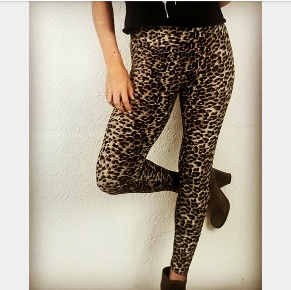 Fashion Animal Print Spots Leopard Beige Big Cat Running Leggings Slim Pants OS